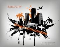 Stad för parti för sommarstrandbegrepp i stadens centrum vektor illustrationer