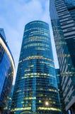 Stad för skyskrapa för höga torn glass hög Ryssland Moskva 24 April 2016 Fotografering för Bildbyråer