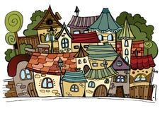 Stad för teckning för tecknad filmvektorsaga. vektor illustrationer