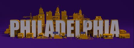 stad för tolkning 3d med byggnader, New York City bokstävernamn stock illustrationer