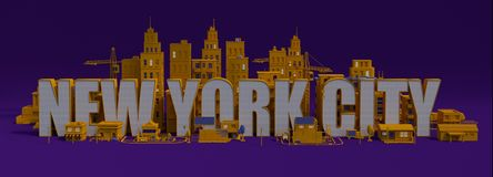 stad för tolkning 3d med byggnader, New York City bokstävernamn Royaltyfria Foton