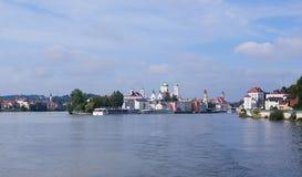 Stad för tre floder av Passau Arkivfoton
