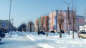 Stad för vinterissnö lager videofilmer
