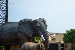 Stad för vizag för elefantstatycloseup bluesky arkivbild