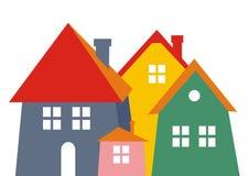 Stad, gekleurd silhouet Het pictogram van toestellen Groep huizen met schoorsteen Royalty-vrije Stock Foto