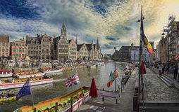 Stad GENT, Belgium, 4 April 2016, Downtown Royalty Free Stock Photo
