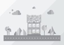 Stad, grijze achtergrond, Royalty-vrije Stock Afbeelding