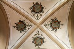 Stad Hall Ceiling Painting in Frydlant stock fotografie