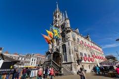 Stad Hall Gouda in Nederland Stock Afbeeldingen