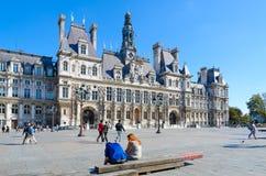 Stad Hall Hotel de Ville op titel Square Hotel DE Ville vroeger middeleeuws Grevskaya Vierkant, Parijs, Frankrijk stock foto's