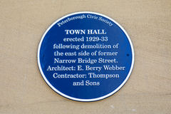 Stad Hall Plaque in Peterborough Royalty-vrije Stock Fotografie