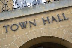 Stad Hall Sign Fotografering för Bildbyråer