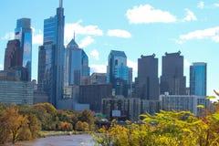 Stad Hall Skyscrapers Philadelphia Cloudy Sky royaltyfri foto