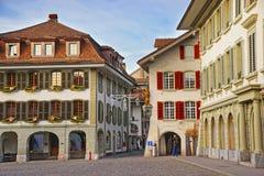 Stad Hall Square i gammal stad av Thun på jul Arkivfoto