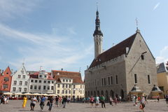 Stad Hall Square Tallinn Estonia Royalty-vrije Stock Afbeelding