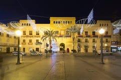 Stad Hall Square van de stad van Elche, met Kerstmisdecoratie Royalty-vrije Stock Afbeeldingen