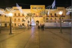 Stad Hall Square van de stad van Elche, met Kerstmisdecoratie Stock Foto