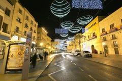 Stad Hall Square van de stad van Elche, met Kerstmisdecoratie Royalty-vrije Stock Foto