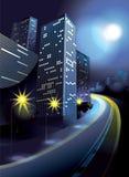 Stad in het maanlicht met huizen, weg en lantaarns royalty-vrije illustratie