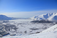 Stad in het noordpoolgebied royalty-vrije stock fotografie