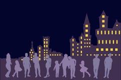 stad horisont, natt, byggnad, cityscape som är stads-, illustration, arkitektur, stad, byggnader, himmel, skyskrapa, kontur, abst vektor illustrationer
