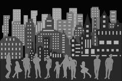 stad horisont, natt, byggnad, cityscape som är stads-, illustration, arkitektur, stad, byggnader, himmel, skyskrapa, kontur, abst stock illustrationer