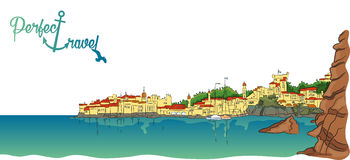 Stad i bergen nära havet royaltyfri illustrationer