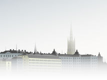 Stad i dimman Royaltyfria Foton