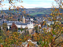 Stad i Erzgebirge i Tyskland Arkivfoton