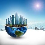 Stad i halv planet med solen Arkivfoton