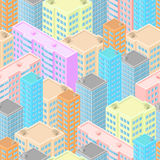 Stad i isometrisk sikt Sömlös modell med färgrika hus Royaltyfria Bilder