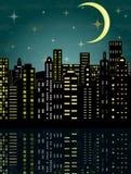 Stad i mörkret Arkivfoton