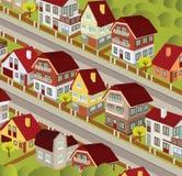 Stad i perspektiv stock illustrationer