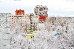 Stad i snön Royaltyfri Bild