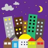 Stad i stjärnklar natt Royaltyfri Fotografi