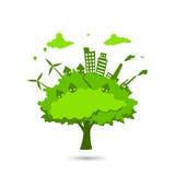 Stad i trädet Arkivfoto
