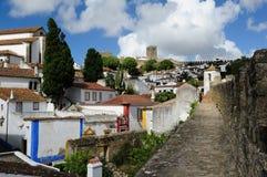 Stad inom slottväggar, Obidos, Portugal Arkivfoton