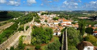 Stad inom slottväggar, Obidos, Portugal Royaltyfria Foton