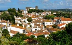Stad inom slottväggar, Obidos, Portugal Fotografering för Bildbyråer