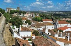 Stad inom slottväggar, Obidos, Portugal Arkivbild
