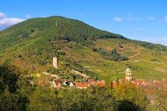 Stad Kaysersberg in de Elzas, Frankrijk Royalty-vrije Stock Foto