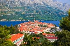 Stad Korcula in Kroatië stock foto