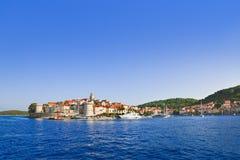 Stad Korcula in Kroatië stock foto's