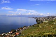 Stad längs sjön, Schweiz Fotografering för Bildbyråer