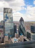 stad london Panoramautsikt från golvet 32 av London skyskrapa Arkivbilder