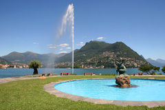 stad lugano switzerland Royaltyfri Foto