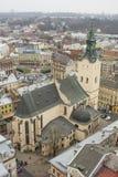 Stad Lviv van de hoogte van vogelvlucht Royalty-vrije Stock Afbeeldingen