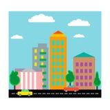 Stad med hus och bilar Plan design vektor Arkivfoto