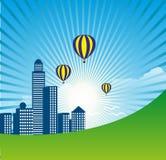 Stad med solstråle- och luftballongbakgrund Arkivbilder