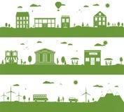 Stad med tecknad filmhus, grön ecopanorama Royaltyfria Bilder